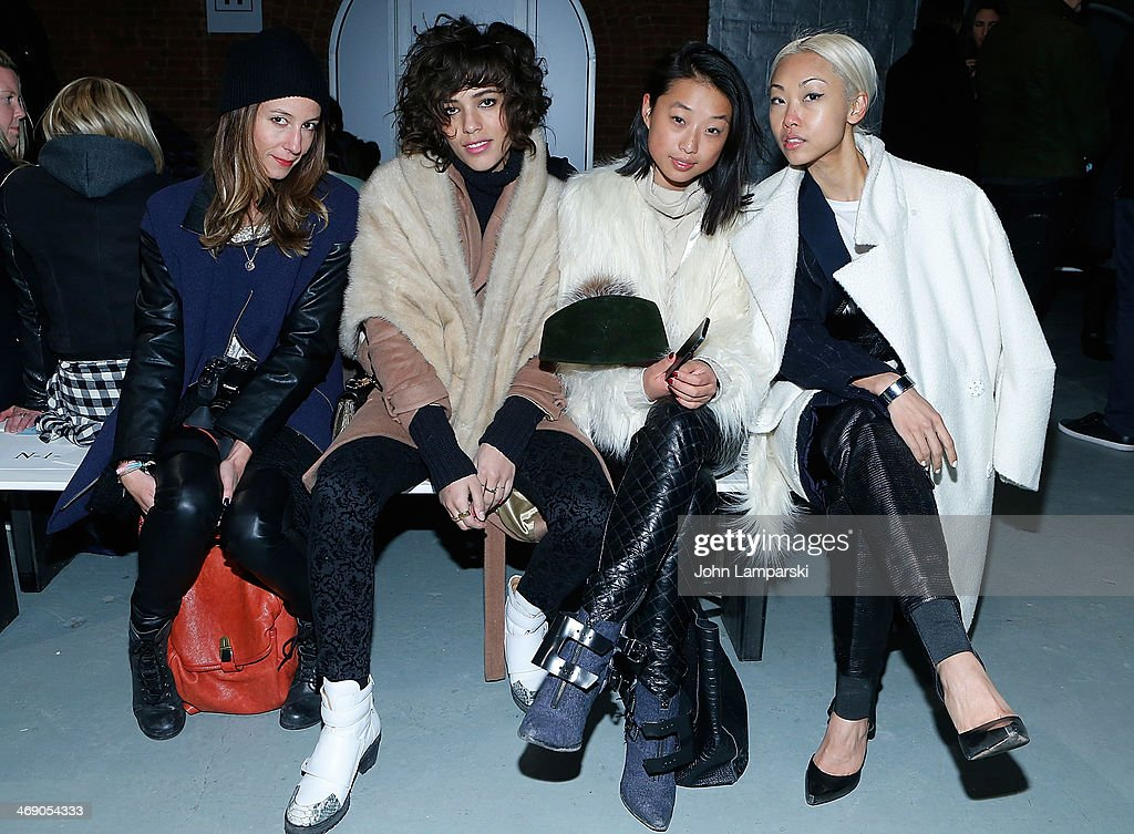 Tiara Schwartz, Christina Cardona, Margaret Zang and Vanessa Hoang attend the Sass & Bide Show during Mercedes-Benz Fashion Week Fall 2014 at Classic Car Club on February 12, 2014 in New York City.