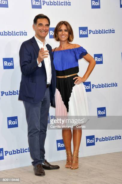 Tiberio Timperi and Ingrid Muccitelli attend the Rai Show Schedule Presentation In Rome on July 4 2017 in Rome Italy