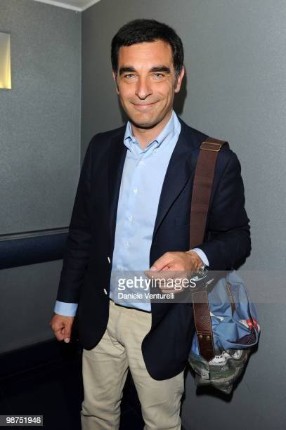 Tiberio Timperi attends a cocktail party for the premiere of 'Iron Man 2' at the Belstaff flagship store on April 29 2010 in Rome Italy