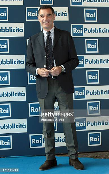 Tiberio Timperi attends RAI Television 2013 / 2014 Programming Presentation at RAI Dear Studios on June 25 2013 in Rome Italy