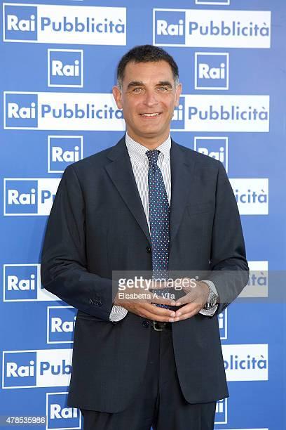 Tiberio Timperi attends RAI Yearly TV Show Schedule at Villa Piccolomini on June 25 2015 in Rome Italy