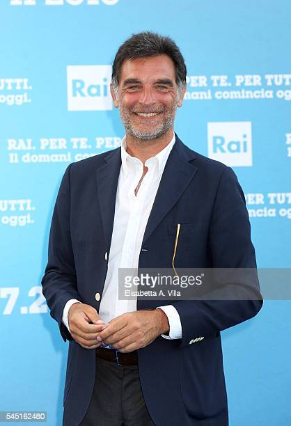 Tiberio Timperi attends the Rai Show Schedule Presentation at Salone Delle Fontane on July 5 2016 in Rome Italy
