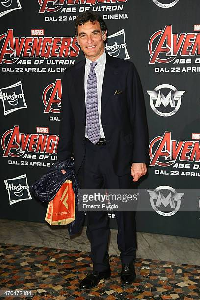 Tiberio Timperi attends the 'The Avengers' premiere at The Space Moderno on April 20 2015 in Rome Italy