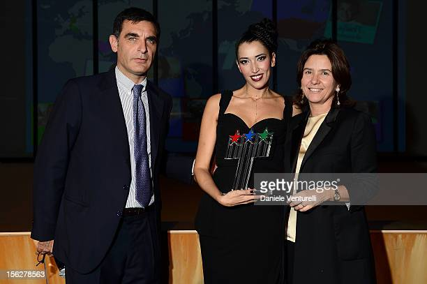 Tiberio Timperi Nina Zilli and Francesca Pasinelli attend the 2012 Telethon Gala during the 7th Rome Film Festival at Open Colonna on November 12...