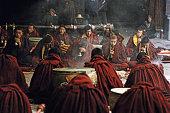 Tibet, Lhasa, monks chanting at Jokhang temple
