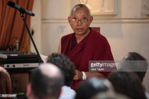 Tibetan Buddhist monk Geshe Tashi speaks during the funeral of Jon Underwood at the Jamyang Buddhist Centre on July 6 2017 in London England The...
