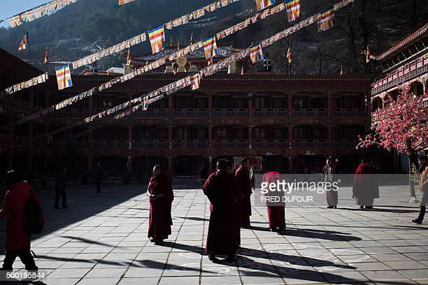 Tibetan Buddhist monks gather to prepare the Butter Lamp Festival that commemorates Tsong Khapa a master of Tibetan Buddhism on December 6 in...