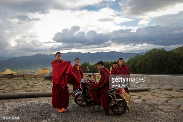 Tibetan Buddhist monks in the Long youth Cole Temple on July 21 2017 in Litang County Ganzi Tibetan Autonomous Prefecture Sichuan Province China...