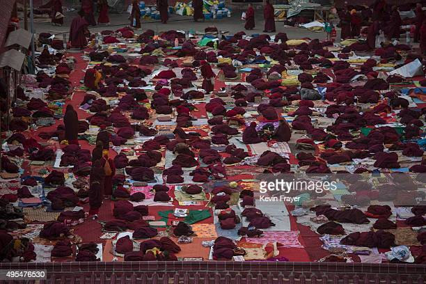 Tibetan Buddhist nuns gather gather before a morning chanting session as part of the annual Bliss Dharma Assembly at the Larung Wuming Buddhist...
