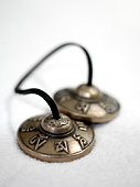 Tibetan cymbals with skull and script