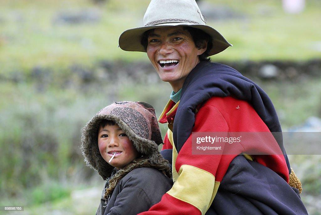 Tibetan father and son