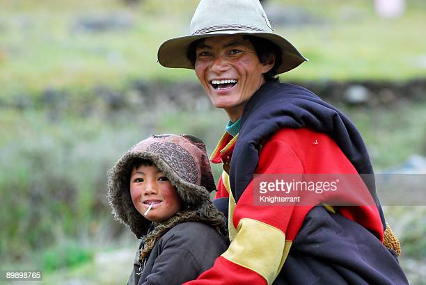 Tibetan father and son