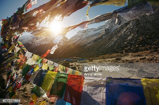 Tibetan Flags on Annapurna Base Camp in Nepal : Stock Photo