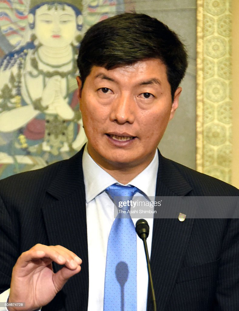 Tibetan Government-in-Exile Prime Minister <a gi-track='captionPersonalityLinkClicked' href=/galleries/search?phrase=Lobsang+Sangay&family=editorial&specificpeople=7725923 ng-click='$event.stopPropagation()'>Lobsang Sangay</a> speaks during a press conference on Janaury 9, 2016 in Tokyo, Japan. Sangay called on Tokyo to encourage Beijing to behave appropriately since China needs to resolve its human rights issues at home to become a trusted member of the international community.
