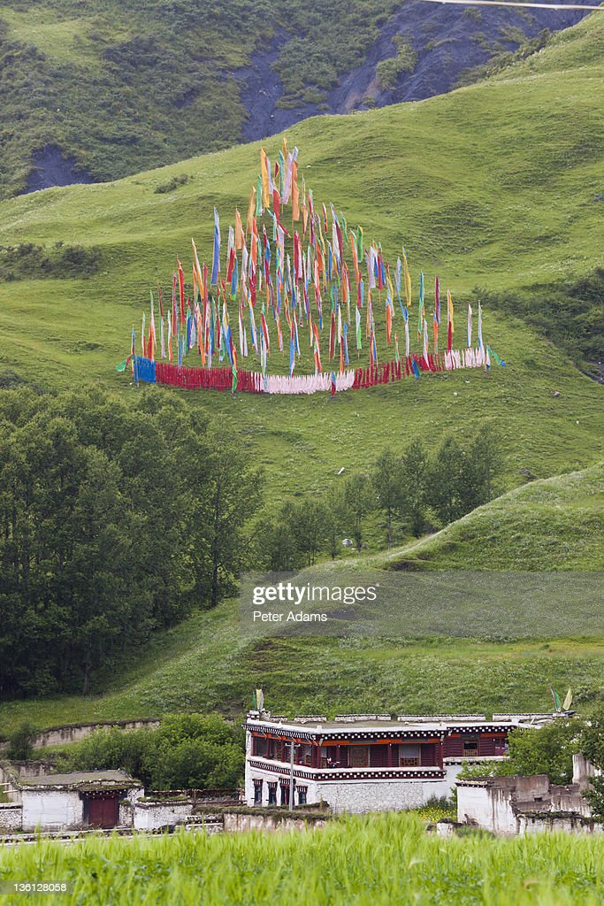 Tibetan House With Buddhist Prayer Flags : Stock Photo