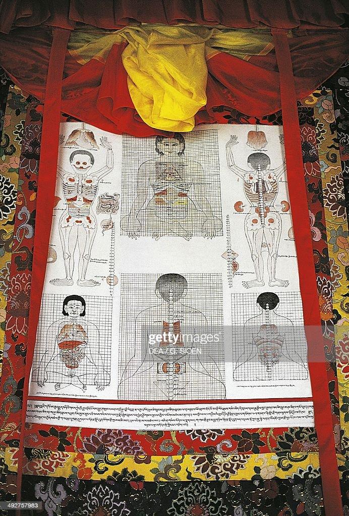 Tibetan medicine Thangka or tangka (painted or embroidered Buddhist banner), Lhasa, Tibet, China.