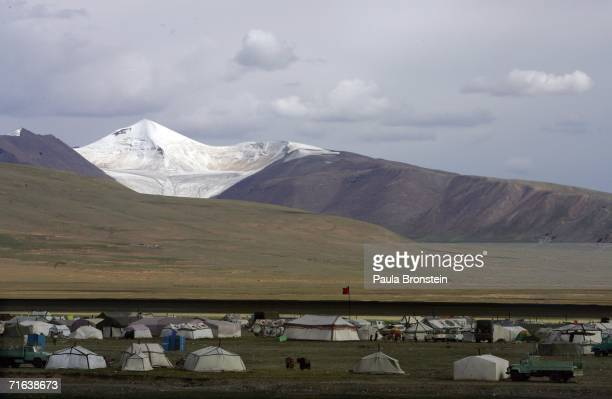 Tibetan nomad camp sits on the Tibetan plateau near the QinghaiTibet railway heading towards Xinning on August 8 2006 in Lhasa of Tibet Autonomous...