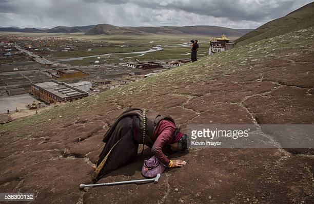 Tibetan nomad woman prays on the 15th day of Saka Dawa the holiest day of the Buddhist calendar when it is prohibited from harvesting on May 21 2016...