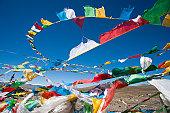Tibetan prayer flags Mt Everest, China