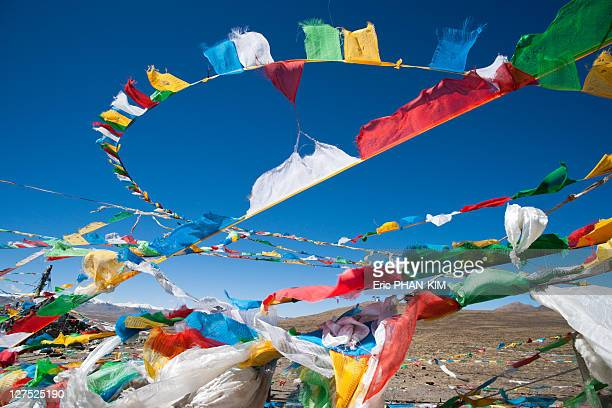 Tibetan prayer flags Mt Everest, China