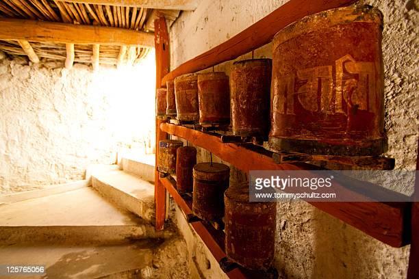 Tibetan prayer wheels at Klu kkhyil monastery