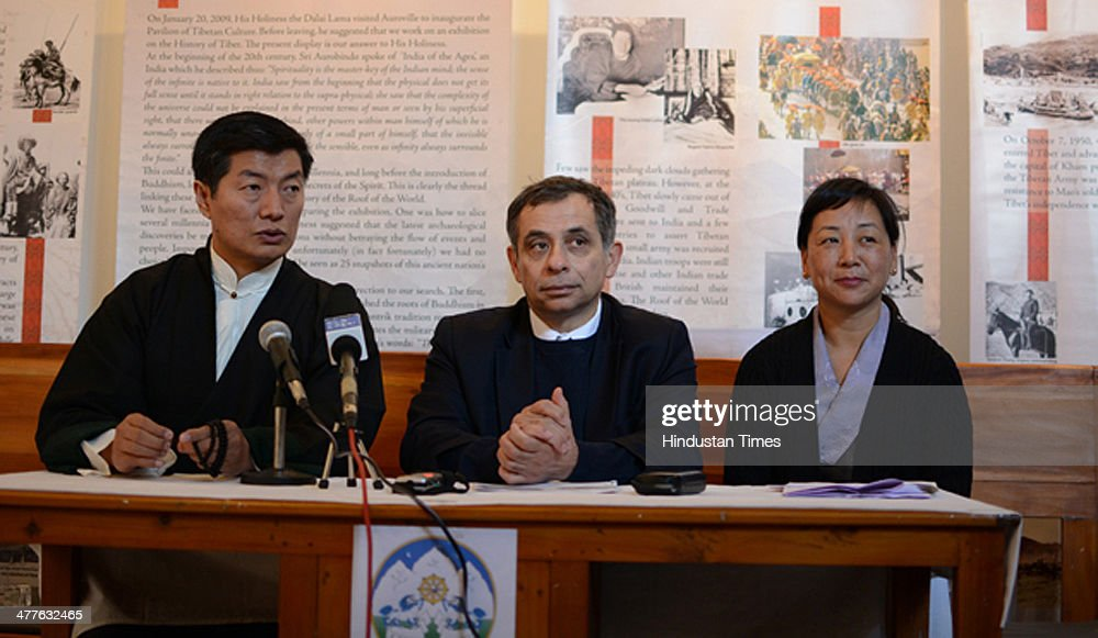 Tibetan Prime minister in exile, Lobsang Sangay with Henri Malosse, the President of the European Economic and Social Committee (EESC) and Dicki Chhoyang of the Department of Information and International Relations addressing press conference on the occasion of 55th anniversary of the Tibetan Uprising against the Chinese invasion of Tibet on March 10, 2014 in Dharamsala, India.