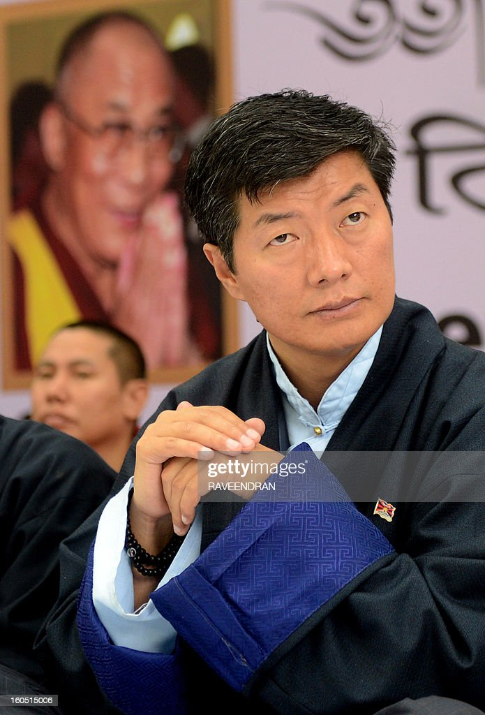 Tibetan Prime Minister Lobsang Sangay sits during a protest rally in New Delhi on February 2, 2013. The Tibetan government in exile launched a Solidarity with Tibet Campaign 2013, as Tibetans continue to self-immolate calling for freedom in Tibet.