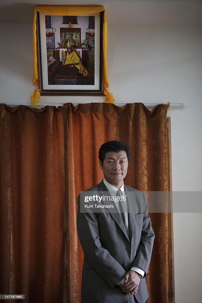 Tibetan Prime Minister-in-Exile <a gi-track='captionPersonalityLinkClicked' href=/galleries/search?phrase=Lobsang+Sangay&family=editorial&specificpeople=7725923 ng-click='$event.stopPropagation()'>Lobsang Sangay</a> poses for a portrait in his office on March 29, 2012 in Dharamsala, India. Sangay was elected as the next Kalon Tripa of the Tibetan Government in Exile on 26 April 2011.