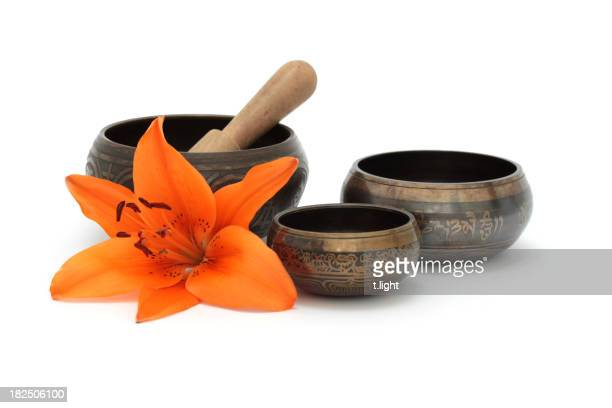 Tibetan singing bowls with flower