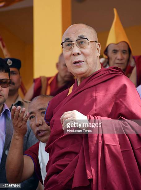 Tibetan spiritual leader Dalai Lama arrives to impart teaching on Je Rinpoche's 'The Three Principal Aspects of the Path' 'The Concise Stages of the...