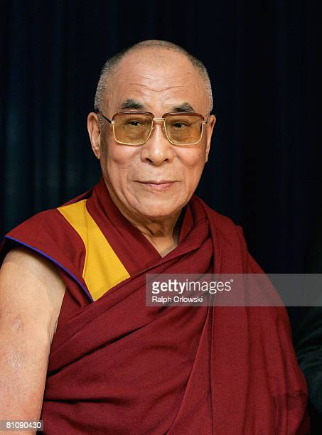 Tibetan Spiritual Leader His Holiness The Dalai Lama speaks to the media at Frankfurt airport on May 15 2008 in Frankfurt Germany The Dalai Lama...