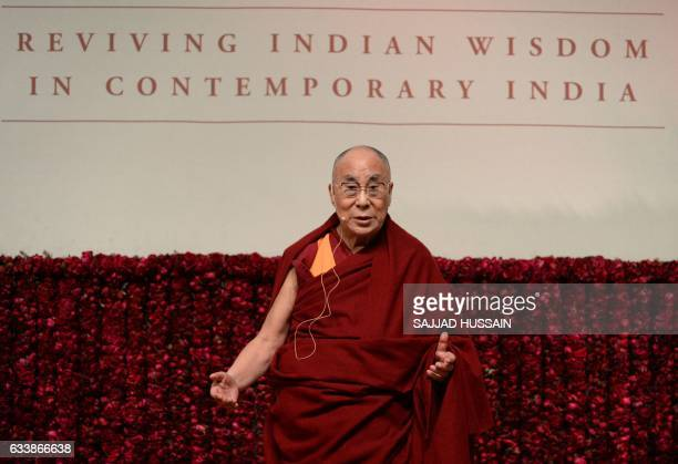 Tibetan spiritual leader the Dalai Lama delivers a public lecture on Reviving Indian Wisdom in Contemporary India at a function in New Delhi on...