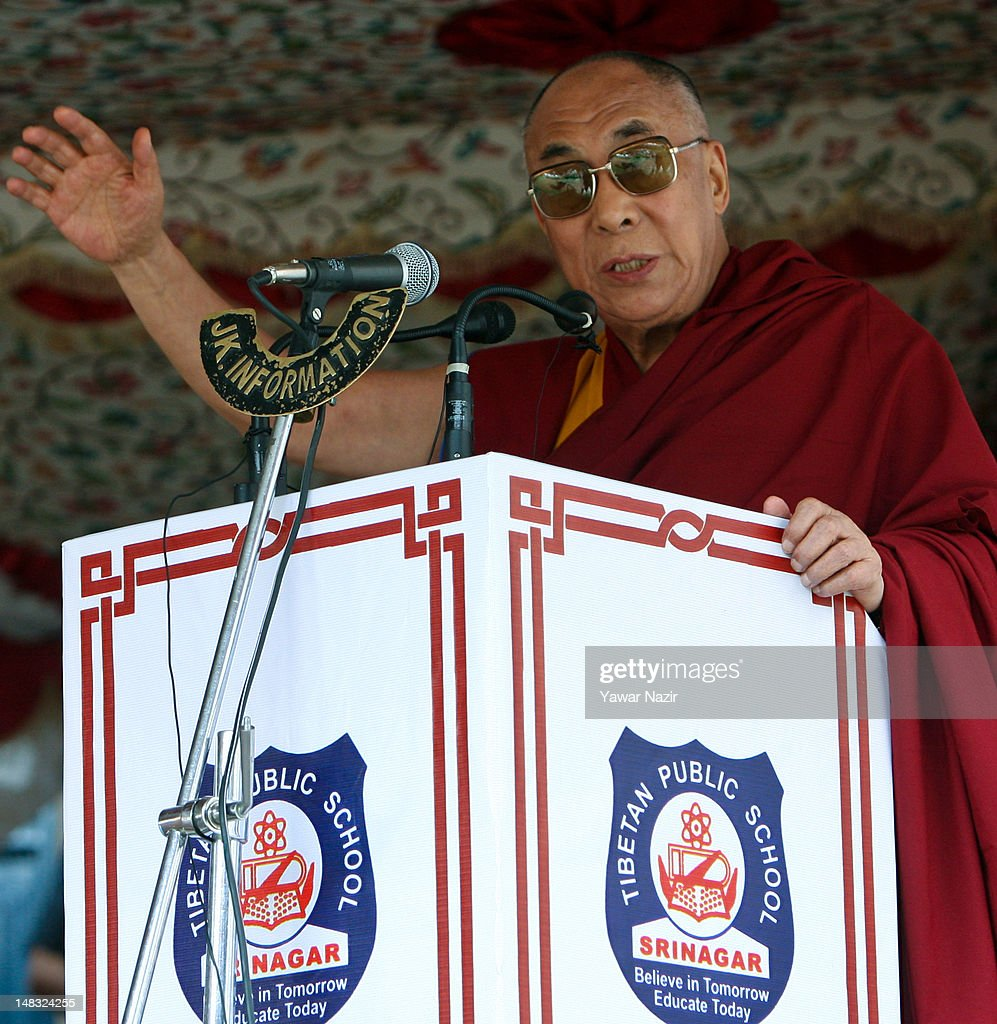 Tibetan spiritual leader the Dalai Lama delivers a speech during his visit to a Tibetan school on July 14, 2012 in Srinagar the summer capital of Indian administered Kashmir, Indian. The Dalai Lama is in Kashmir for about a week to visit the Tibetan community living in the predominately Muslim area.