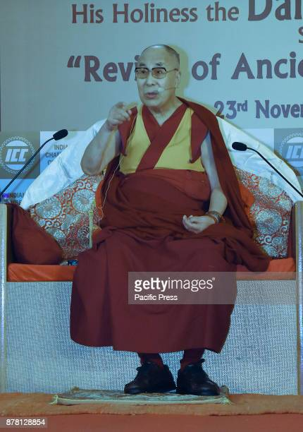 Tibetan spiritual leader the Dalai Lama speaks at an interactive session on 'Revival of Ancient Knowledge' an interactive session organised by Indian...