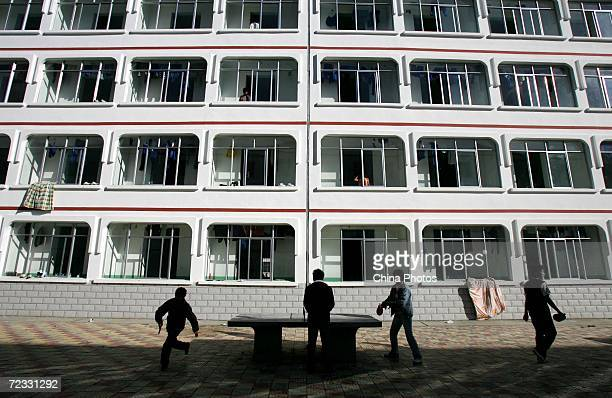 Tibetan students play tabel tennis in front of a dormitory at Nyingchi First High School the only high school of Nyingchi Prefecture on October 29...