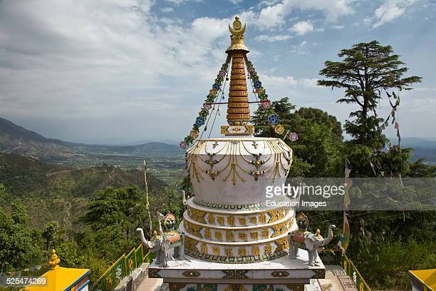 A Tibetan Stupa On The Grounds Of The Tsuglagkhang Complex Which Is The Dalai Lamas Residence In Exile In Mcleod Gang Dharmsala India