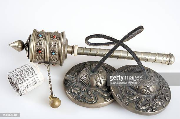 Tibetan Tingshas and prayer wheel