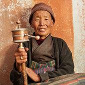 'Tibetan woman praying, Mustang'