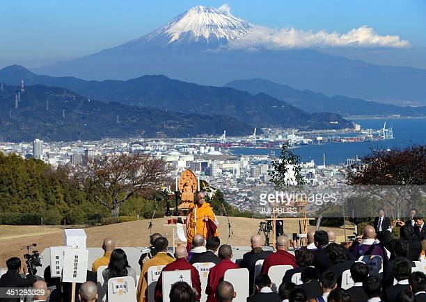 Tibet's spiritual leader Dalai Lama preaches before some 1000 people including representatives of Christian Buddhists Islamic and Shinto faiths in...