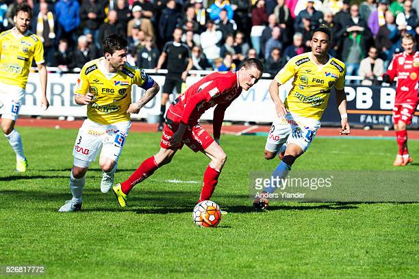 Tibor Joza of Falkenberg Lars Nilsson of IF Elfsborg and Alexander Jakobsen of Falkenberg competes for the ball during the Allsvenskan match between...