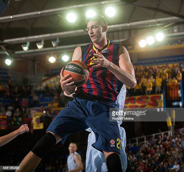 Tibor Pleiss #21 of FC Barcelona in action during the 20142015 Turkish Airlines Euroleague Basketball Regular Season Date 3 game between FC Barcelona...