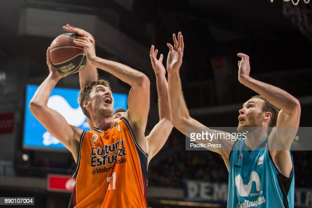 Tibor Pleiss and Alec Brown during Movistar Estudiantes victory over Valencia Basket Club in Liga Endesa regular season game celebrated in Madrid at...