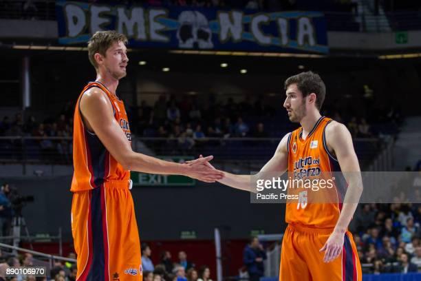 Tibor Pleiss and Guillem Vives during Movistar Estudiantes victory over Valencia Basket Club in Liga Endesa regular season game celebrated in Madrid...