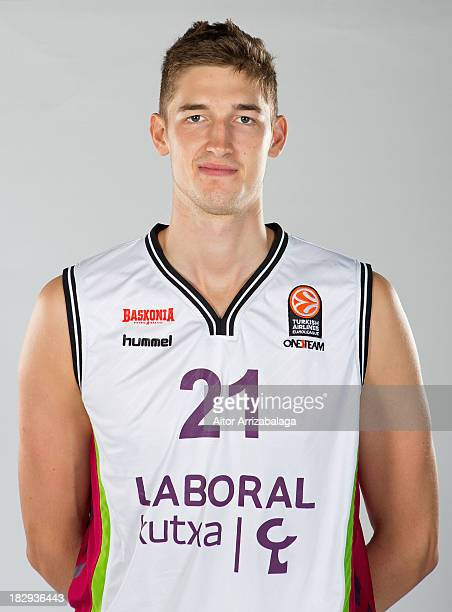 Tibor Pleiss during the Laboral Kutxa Vitoria 2013/14 Turkish Airlines Euroleague Basketball Media Day at Fernando Buesa Arena on October 2 2013 in...