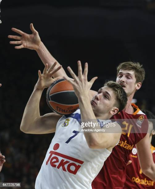 Tibor Pleiss of Galatasaray Odeabank in action against Luka Doncic during the Turkish Airlines Euroleague match between Galatasaray Odeabank and Real...