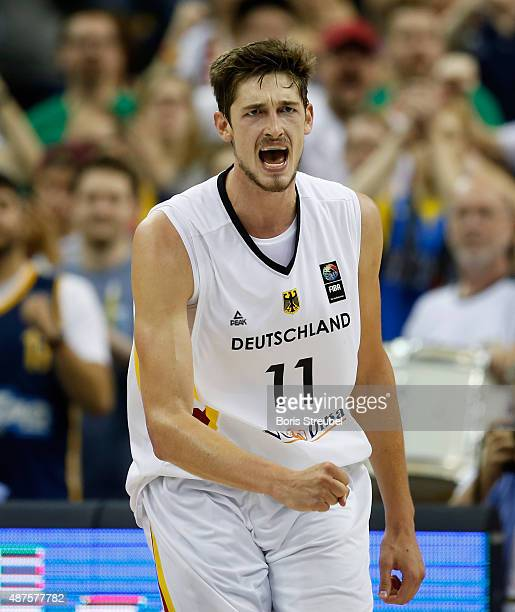 Tibor Pleiss of Germany celebrates during the FIBA EuroBasket 2015 Group B basketball match between Germany and Spain at Arena of EuroBasket 2015 on...