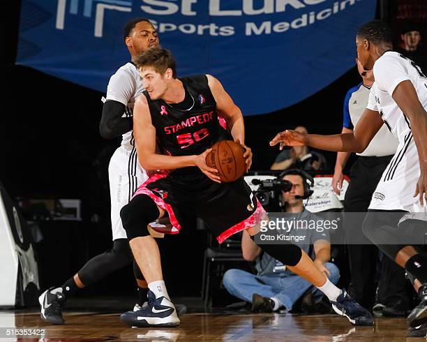 Tibor Pleiss of the Idaho Stampede drives to the basket against the Austin Spurs at CenturyLink Arena on March 12 2016 in Boise Idaho NOTE TO USER...