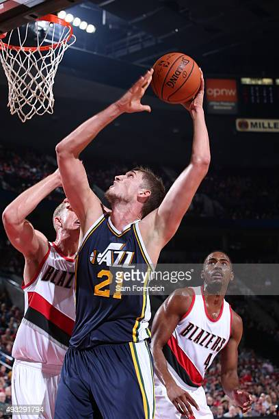 Tibor Pleiss of the Utah Jazz goes to the basket against the Portland Trail Blazers on October 18 2015 at the Moda Center in Portland Oregon NOTE TO...