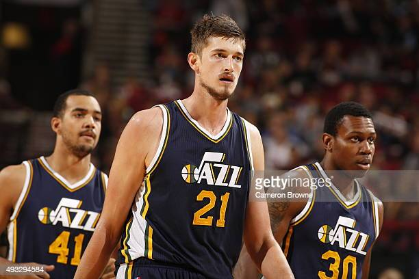 Tibor Pleiss of the Utah Jazz looks on during the game against the Portland Trail Blazers on October 18 2015 at the Moda Center in Portland Oregon...