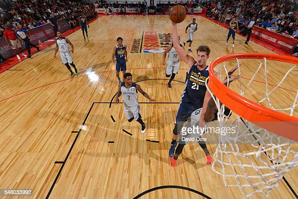 Tibor Pleiss of Utah Jazz goes for the dunk against the New Orleans Pelicans during the 2016 Las Vegas Summer League on July 10 2016 at Cox Pavillon...